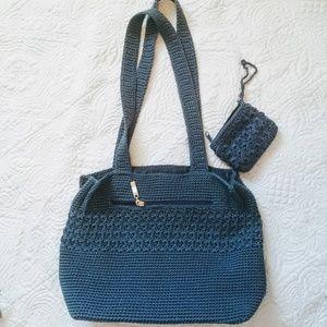 Blue crochet bag, large Worthington like new!